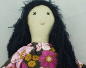 Calliope Cloth Rag Doll, OOAK,  Handmade in Australia, Vintage Upcycled Fabrics, Vegan, Dark Haired, 19 inches