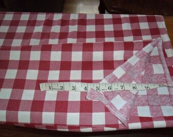 Vintage Burgundy Red and White Checkered Flannel fabric