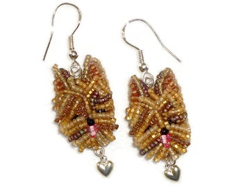 YORKIE LOVE Beaded Yorkshire Terrier dangly dog earrings bead embroidery animal jewelry (Made to Order)