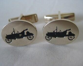 Antique Car Gold Black Cuff Links Auto Vintage Automobile