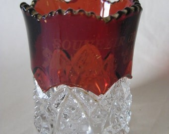 McClure Ohio Toothpick Holder Red Clear Vintage Souvenir