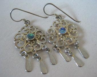Green Blue Filigree Abalone Silver Earrings Pierced Wire Dangle Vintage Shell