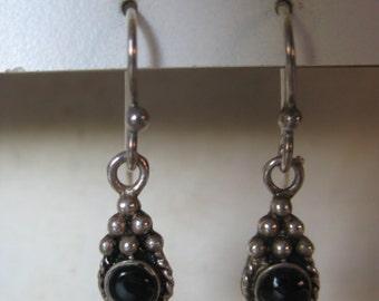 Onyx Sterling Earrings Pierced Wire Vintage Dangle 925 Stone Southwest