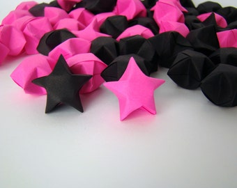100 Origami Lucky Stars - Hot Pink and Black