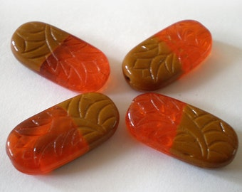 25x12mm Orange Brown carved Czech oval glass beads - 6 pcs