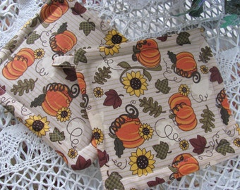 Pumpkin Pot Holder with Sunflowers and Leaves