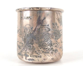 Vintage Sterling Silver H. R. Morss Baby Cup - Engraved Three Little Kittens, Diane