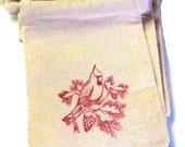 6 Muslin Bags 3x4 Inches Hand Stamped Cardinal, Red and Cream