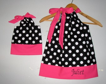 dress  Hot Pink black MONOGRAMMED dress matching America Girl Doll 3, 6, 9 12,18 month 2t,3t,4t, 5t,6,7,8,9,10,12