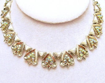 Rhinestone Choker Vintage Necklace Signed Star Costume Jewelry N4556