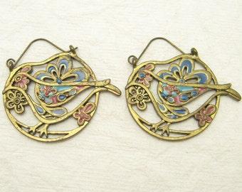 Large Brass Enamel Bird Earrings Vintage Sixties Jewelry E7003