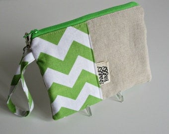 Wristlet Clutch,  Zipper Pouch, School Supplies, Teens, Women, chevron, linen, organize, tote, storage