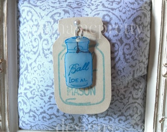 Glass Lid Ball Mason Jar Charm/Zipper Pull/Keychain Charm Opaque Blue