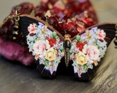 Dark Floral Butterfly Pendant, Black Moth Necklace, Pink, Red, Yellow Flowers