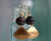 Gold Fan Earrings, Black Crab Agate Dangles, Geometric, Asian Inspired, Gift for Her, Under 15,