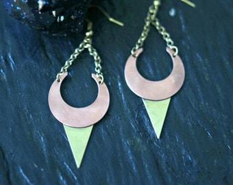 Moon Dagger Earrings, Crescent Moon, Brass, Copper, Celestial, Pagan, Magic, Boho Jewelry
