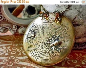October Sale Spider and the Fly Pendant Gothic Brass Spiderweb Necklace