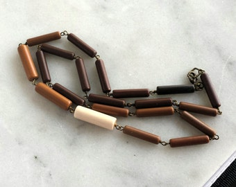 Ombre Brown Necklace, Cocoa, Ochre, Ivory, Beige, Neutrals, Spring Fashion, Layering Necklace