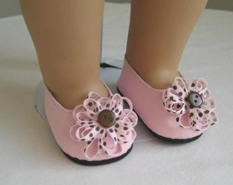 Shoes Made to fit Bitty Baby and Bitty Twins Dolls Pink and Brown Polka Dot Flower Shoes Fit Bitty Baby and Bitty Twins Dolls