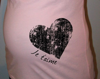 Organic Cotton Maternity Shirt Je Taime I Love You Heart - Maternity Tshirt - Maternity / Gender Reveal - New Baby Shower - Gift Friendly