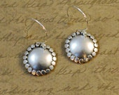 """Sterling silver, 11/16"""" disk, earrings, smooth, dots, rustic, oxidized, small, simple, textured, round, brushed, everyday, bytwilight"""