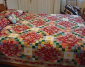 FREE SHIPPING....Beautiful quilt in brilliant colors- great condition, very gently used, no visible defects