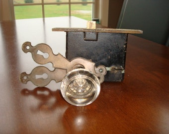 Nice pair of old glass door knobs with metal fixtures- solid, good vintage condition, old