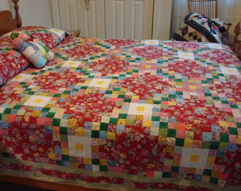 Reduced...FREE SHIPPING....Beautiful quilt in brilliant colors- great condition, very gently used, no visible defects