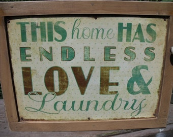 "TIN SIGN CABINET-WaLL storage-""This Home Has Endless Love & Laundry""-Hanging hardware and instructions incld-Medicine Cabinet/Spice Cupboard"