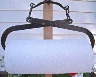 PAPER TOWEL HOLDER-REcycled from a vinTage Ice Tongs plus a roll of Bounty Basics paper towels-GreaT black / brown patina-#3