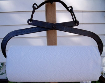 PAPER TOWEL HOLDER REcycled from  anTiQue Ice Tongs + roll of Bounty Basics paper towels-GreaT Grey / brown / black patina