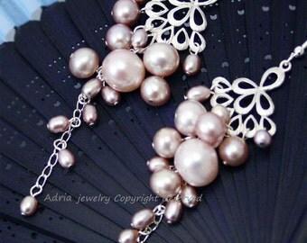 Pink Pearl EArrings, Sterling Silver Earrings, Long cluster Earrings, Chandelier Earrings,Cascade Earrings, Bridal Earrings