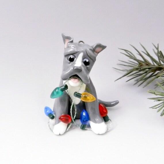 Pitbull American Bulldog BlueNose Christmas Ornament Figurine Lights Porcelain