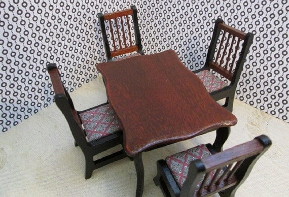 OOAK 1:12 dollhouse table and chair suite - 5 pc - beautiful red wood and black accents - Miniature dining room suite - Mini table w/chairs