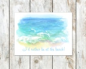 Sandy Beaches Summer Stationery - Ready to Ship Folded Notes - 4 pack - Free Shipping