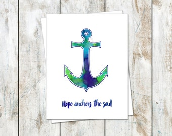 Hope Anchors the Soul Inspirational Notecard - Anchor Inspired Folded Cards