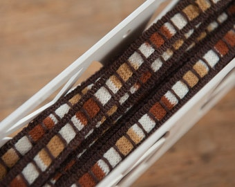 3 yards Knit Edging  - Vintage Trim Mod Braid Upholstery New Old Stock Woven Brown Tan Rust