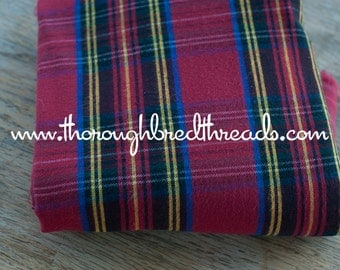 Soft Plaid- Vintage Fabric 80s New Old Stock Preppy Tartan