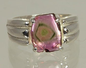 Crystal of Natural Watermelon Multi Color Tourmaline 1.57 carats  Hand Set in Sterling Ring - Fast Free Shipping