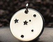 NEW - CANCER 925 Sterling Silver  Zodiac Constellation Disc - Add A Chain Option Avaliable - Insurance Included