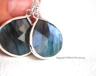 Clementine Earrings - Labradorite Sterling Silver 20x20mm Faceted Teardrops - Genuine Auspicious Feng Shui Regeneration Symbol Gemstone
