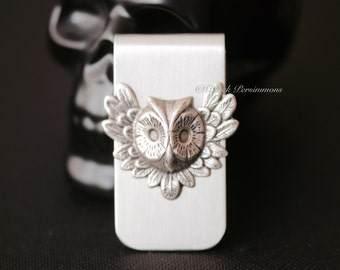 Mr. Feathery Owl Money Clip - Sterling Silver Plated Brass Stamping - STAINLESS STEEL Clip - Insurance Included