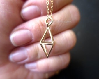 Short Diamond Cage Necklace - Natural Bronze 3D Pendant - Insurance Included