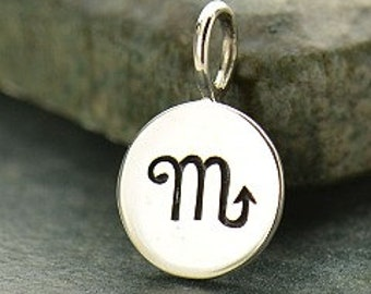 SCORPIO 925 Sterling Silver Zodiac Charm - Add A Chain Option Avaliable - Insurance Included