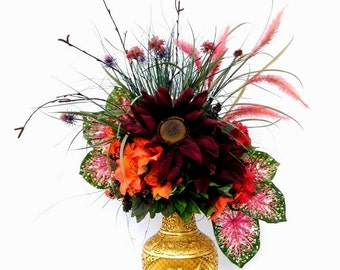 Fall Thanksgiving Bouquet Centerpiece Silk Flower Arrangement Burgundy Sunflowers, Orange Lilies and Red Azaleas
