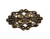 Art Nouveau / Art Deco Antiqued Brass Flourish Stamping to Add-On or Embellish