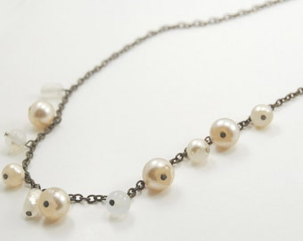 Faux Freshwater Pearl and Antiqued Brass Chain Necklace - 27 Inches Long