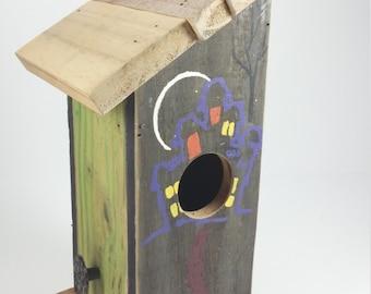 Hand made wooden halloween bird house black and green bird house moon light bird house