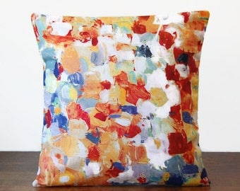 abstract art decorative pillow cover 16 inch, orange yellow blue teal green white brushstrokes cushion cover