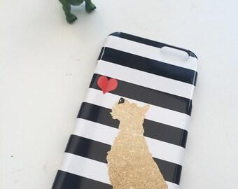 GoldennSchnauzer Dog on stripes  -  iPhone 6S, iPhone 6 Plus, iPhone 5S, Schnauzer Dog art, Schnauzer
